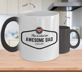 Awesome Dad Ceramic Magic Mug Changes from Solid Black to White with Design