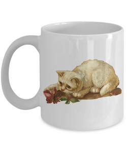 Cat Kitten Vintage Victorian-Era Design Ceramic Mug