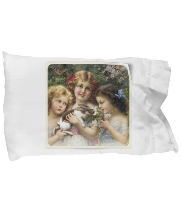 Vintage Victorian Era 3 Girls with Bunny Rabbit Pillow Case