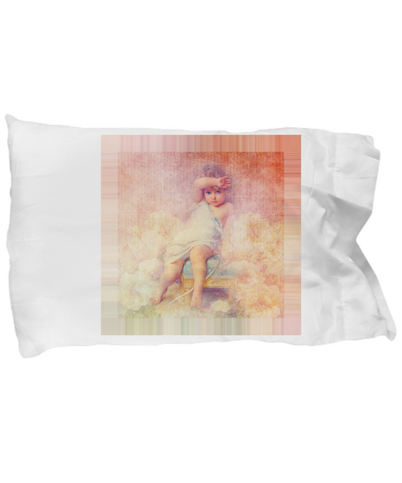 Vintage Victorian-Style Child Angel Cherub Custom Design Pillow Case