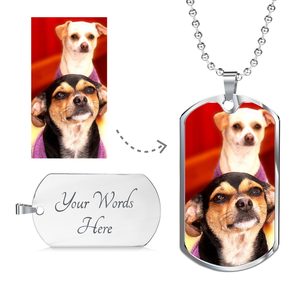 Personalized Photo Dog Tag Necklace in Gold or Silver Finish - Perfect Gift for Any Pet Lover!