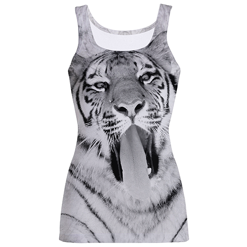 Tiger Yawning Print Fashion Tank Top