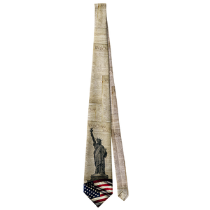 Patriotic American Statue of Liberty with American Flag Neck Tie