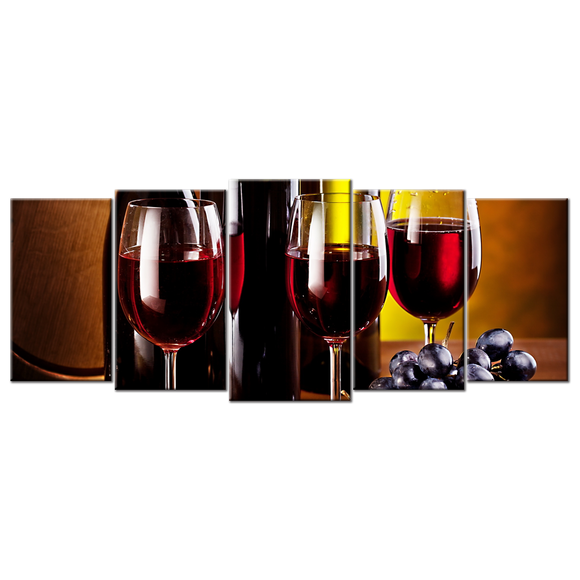 Wine Lovers Canvas Wall Art - Large 5-panel 72 x 32 inches