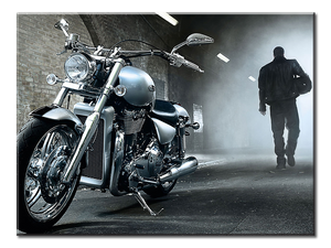 Motorcycle Man Canvas Wall Art - Extra Large 1-panel 40 x 30 inches