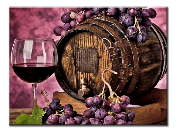 Beautiful Still Life of Grapes, Vino and Barrel Canvas Wall Art 1-panel 24 x 18 inches