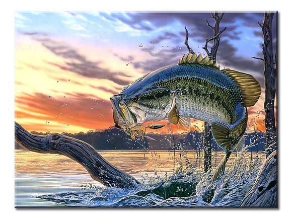 Big Fish Canvas Wall Art 1-panel 24 x 18 inches