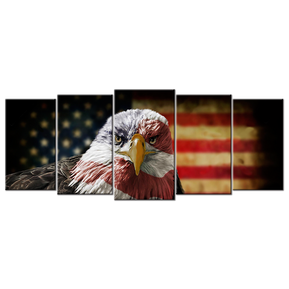 Patriotic American Flag with Eagle Canvas Wall Art - Extra Large 5-panel 92 x 40 inches
