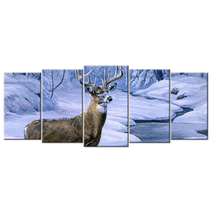 Deer Canvas Wall Art - Extra Large 5-panel 92 x 40 inches