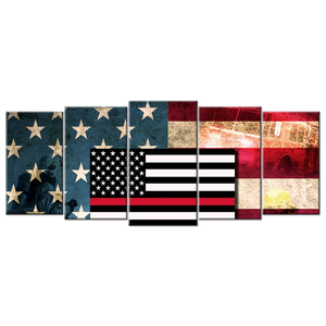 Firefighter Flag Canvas Wall Art - Extra Large 5-panel 92 x 40 inches