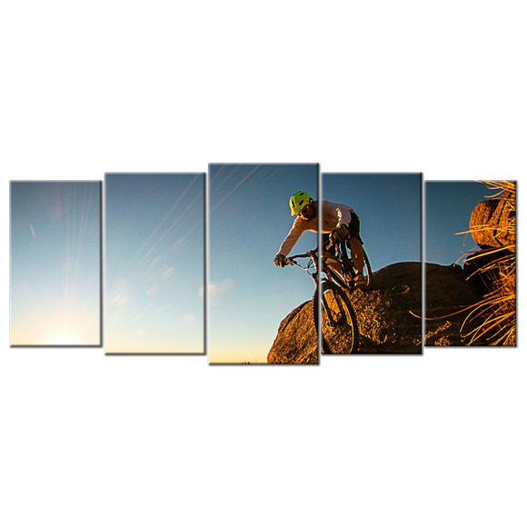 Biking Cycling Mountain Bike Adventure Canvas Wall Art - Extra Large 5-panel 92 x 40 inches