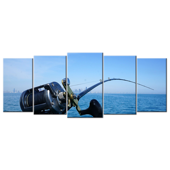 Fishing Canvas Wall Art - Large 5-panel 72 x 32 inches