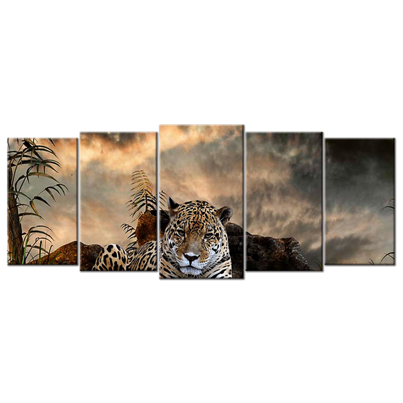 Magnificent Leopard Canvas Wall Art - Large 5-panel 72 x 32 inches