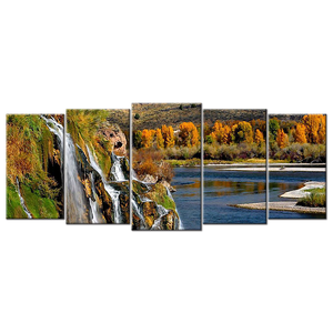 Waterfall Landscape Canvas Wall Art - Large 5-panel 72 x 32 inches