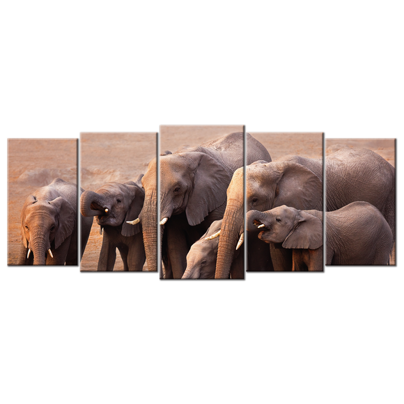 Elephants Drinking Water Canvas Wall Art - Extra Large 5-panel 92 x 40 inches
