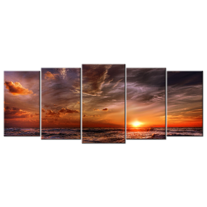 Beach Sunset Canvas Wall Art - Extra Large 5-panel 92 x 40 inches