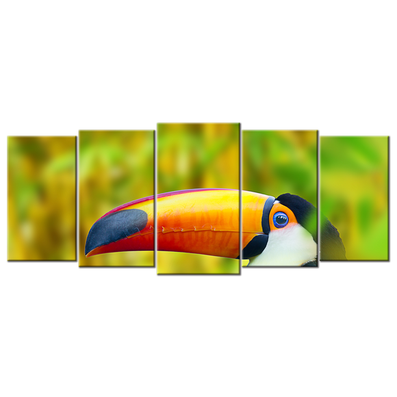 Toucan Tropical Bird Canvas Wall Art - Extra Large 5-panel 92 x 40 inches