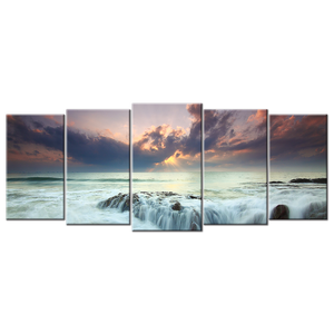Sunset Waterscape Canvas Wall Art - Large 5-panel 72 x 32 inches