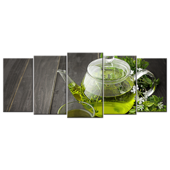 Green Tea Canvas Wall Art - Large 5-panel 72 x 32 inches