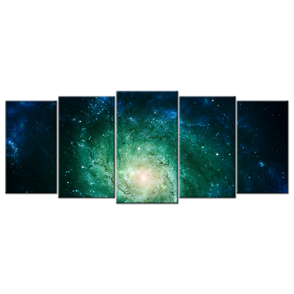 Breathtaking Space Nebula Canvas Wall Art - Large 5-panel 72 x 32 inches
