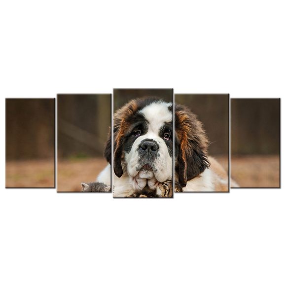 Dog Saint Bernard Puppy Canvas Wall Art - Extra Large 5-panel 92 x 40 inches