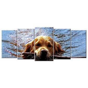 Dog Swimming Canvas Wall Art - Extra Large 5-panel 92 x 40 inches