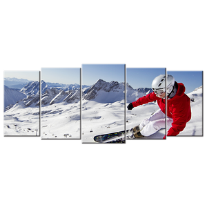 Skiing Canvas Wall Art - Extra Large 5-panel 92 x 40 inches