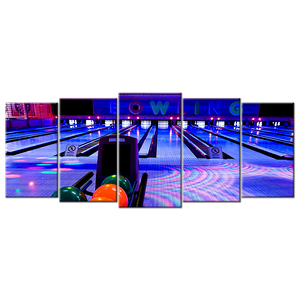 Club Bowling Balls Canvas Wall Art - Extra Large 5-panel 92 x 40 inches
