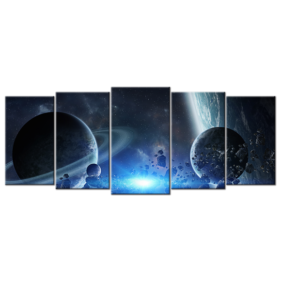 Group Of Planets Canvas Wall Art - Extra Large 5-panel 92 x 40 inches