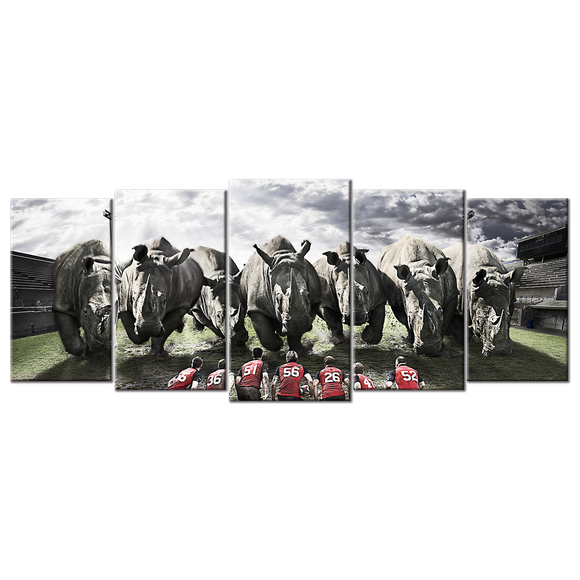 Rugby Team Rhinos Canvas Wall Art - Extra Large 5-panel 92 x 40 inches
