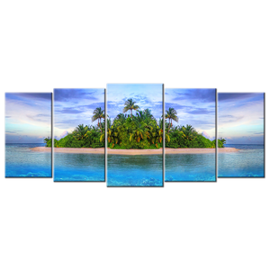 Island Paradise Canvas Wall Art - Extra Large 5-panel 92 x 40 inches