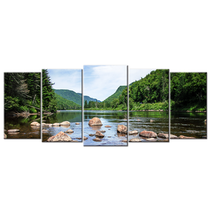 Clear River Canvas Wall Art - Extra Large 5-panel 92 x 40 inches