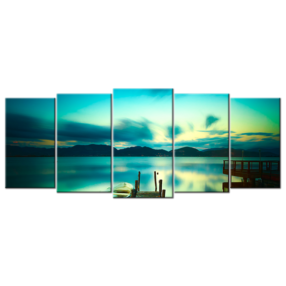 Calm Lake at Sunset Canvas Wall Art - Extra Large 5-panel 92 x 40 inches