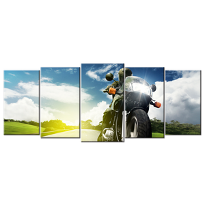 Motorcycle Canvas Wall Art - Extra Large 5-panel 92 x 40 inches