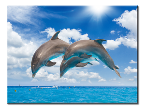 Dolphins Jumping Canvas Wall Art 1-panel 24 x 18 inches