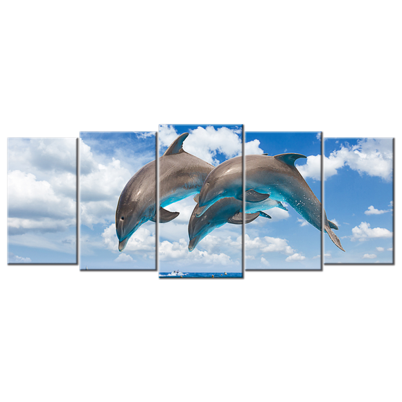 Dolphins Jumping Canvas Wall Art - Large 5-panel 72 x 32 inches