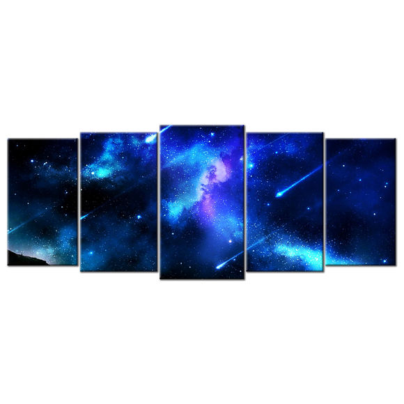 Spectacular Blue Meteor Shower Canvas Wall Art - Large 5-panel 72 x 32 inches
