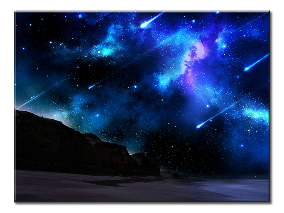 Blue Meteor Shower Canvas Wall Art - Extra Large 1-panel 40 x 30 inches