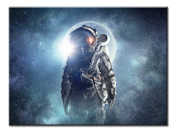 Astronaut In Outer Space Canvas Wall Art - Extra Large 1-panel 40 x 30 inches
