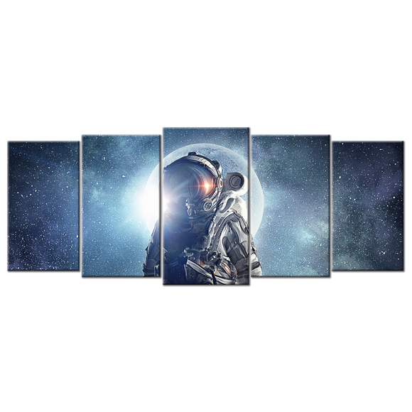 Astronaut In Outer Space Canvas Wall Art - Large 5-panel 72 x 32 inches