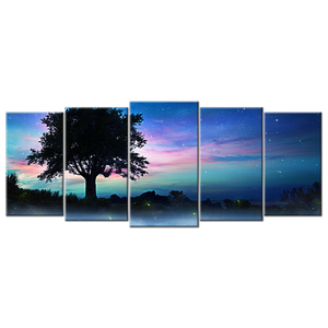 Beautiful Night Sky Canvas Wall Art - Extra Large 5-panel 92 x 40 inches
