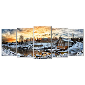 Snowy Winter Scene Canvas Wall Art - Extra Large 5-panel 92 x 40 inches