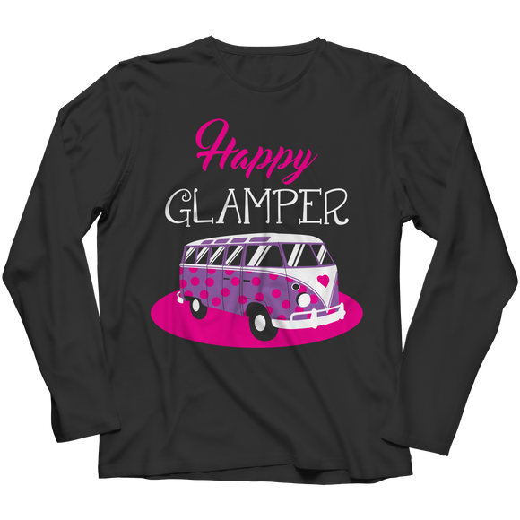 Camping Funny Happy Glamper Long Sleeve Shirt