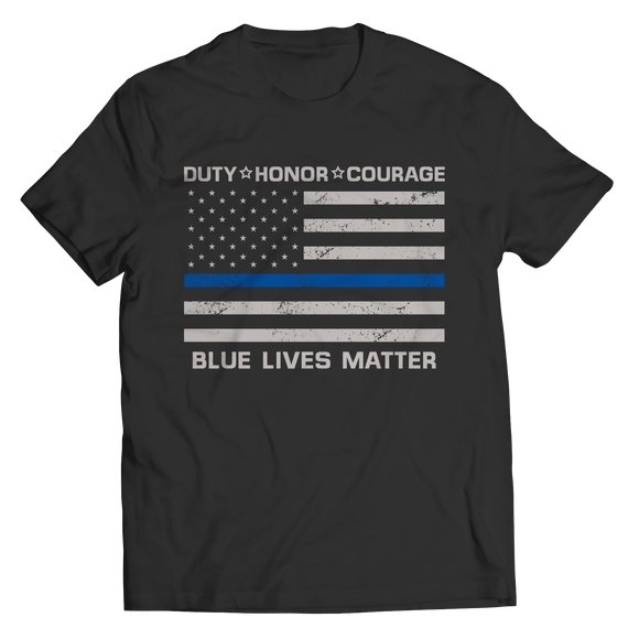 Duty Honor Courage Blue Lives Matter Police Officer Shirts