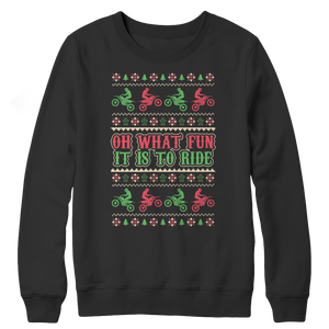 Biker Motocross Motorcycle Rider - Ugly Christmas  Crewneck Fleece Sweatshirt