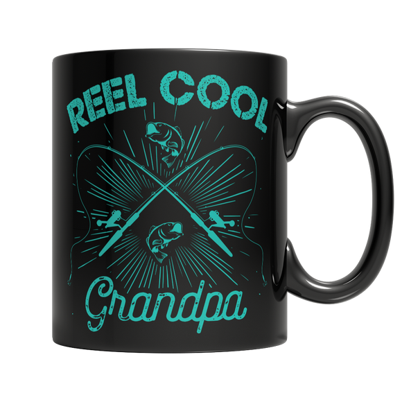 Reel Cool Grandpa Fishing Lover's 11 oz Black Ceramic Mug