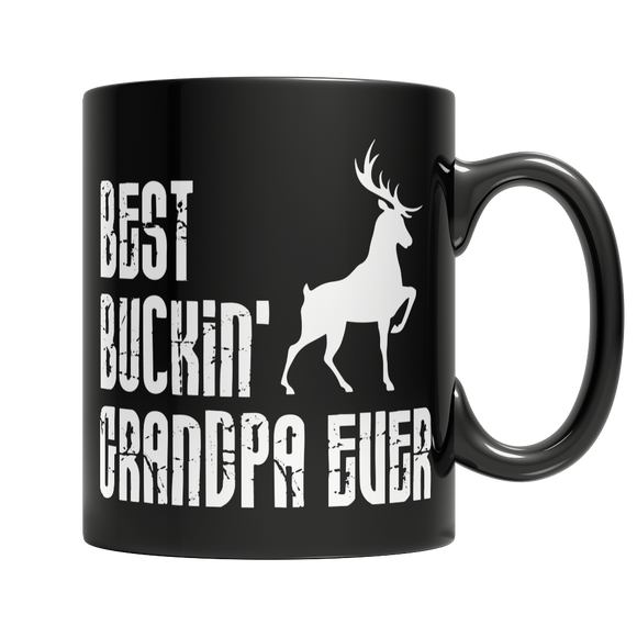 Best Buckin Grandpa Ever 11 oz Black Ceramic Mug