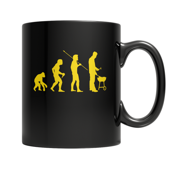BBQ Grilling Evolution Funny 11 oz Black Ceramic Mug