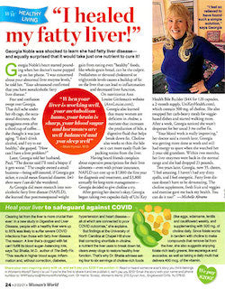 scan of woman's world article about fatty liver
