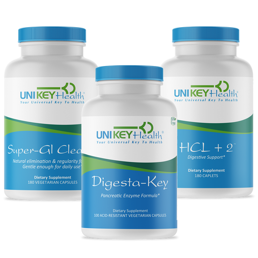 Digesta-Key, HCL+2 and Super-GI Cleanse in a basic Daily Digestion Bundle